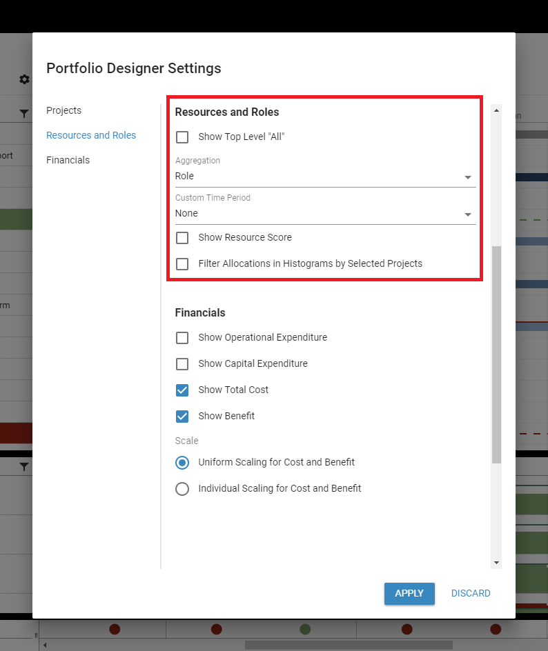Portfolio Designer View Settings for Resources and Roles