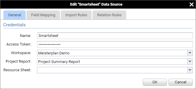 Example Settings for a Connection to Smartsheet