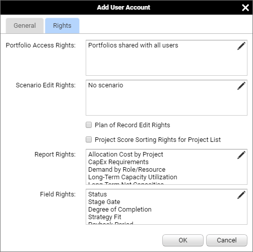 Example Data Adding a New User (Rights)
