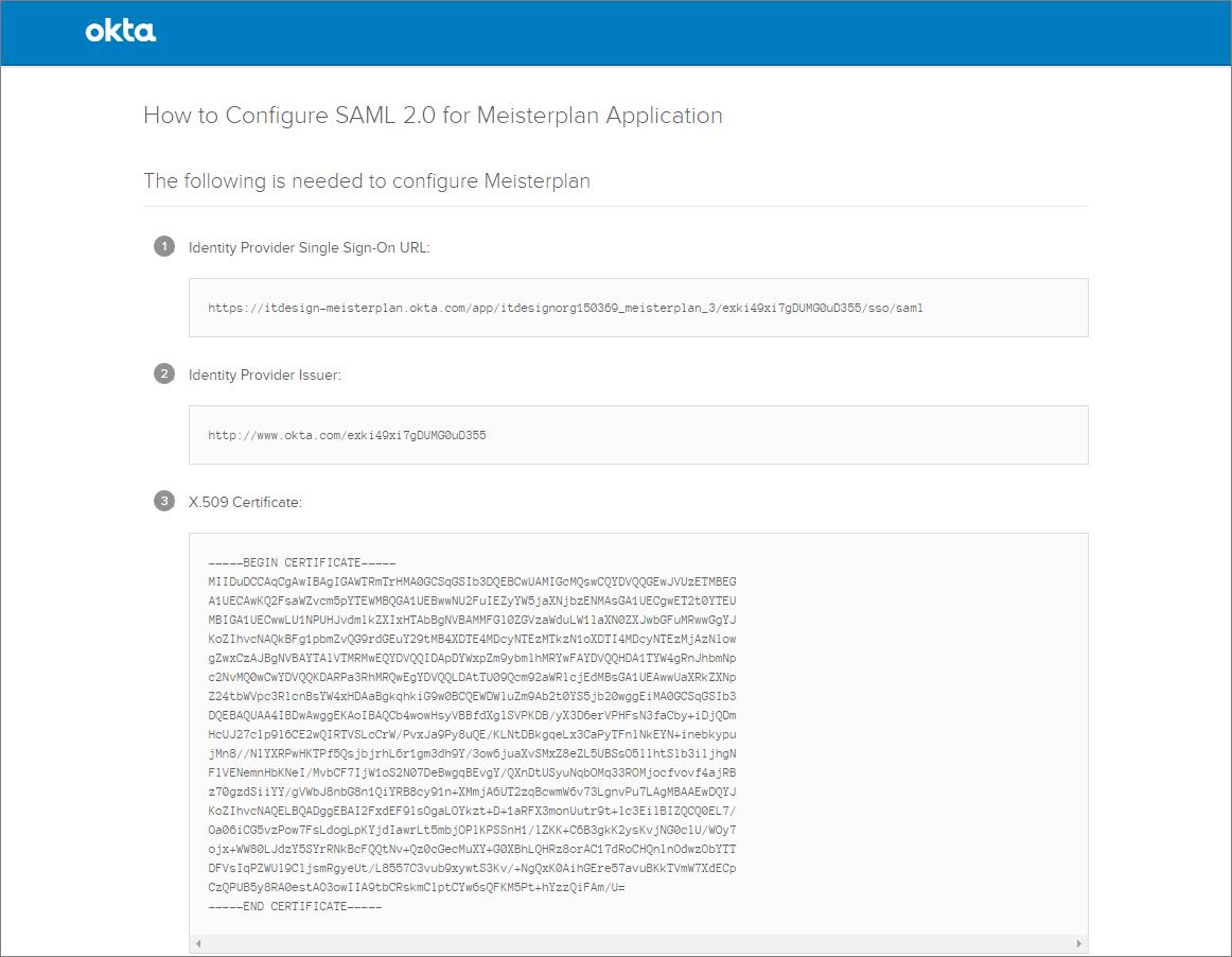 Configuring SSO via SAML 2 0 with Okta – Meisterplan Help Center